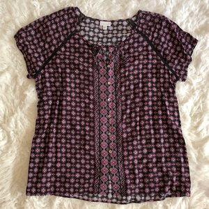 J. JILL Short Sleeve Print Blouse Size 1X